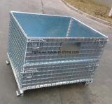 Gaiola de armazenamento em malha de metal galvanizado dobrável com palete de madeira