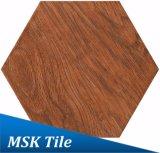 Bois-Regarder la tuile rustique Kl-10-Y1 d'hexagone de porcelaine