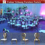연회를 위한 스테인리스 의자를 및 결혼식 및 사건 및 호텔 식당 (YC-SS34) 겹쳐 쌓이는 2017 새로운 디자인 현대 임대 은 프레임 및 하얀 가죽