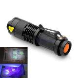 395nm 365nmの紫外線懐中電燈をつける小型お金のヒスイの探知器の蛍光性すみれ色LED