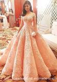 Rosafarbene Spitze-Ballkleider, die rosafarbenes Hochzeits-Kleid B197 bördeln