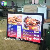 잘 고정된 알루미늄 메뉴 널을%s 호리호리한 LED 가벼운 상자 광고