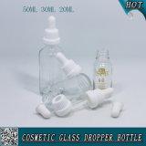 бутылка капельницы 50ml 30ml 20ml косметическая ясная стеклянная с пластичной крышкой доказательства ребенка