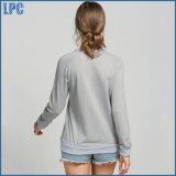 Ployester V colar manga comprida para camisa de lazer