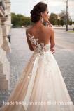 Vestido de casamento de creme nupcial Hb20179 de Tulle dos vestidos de esfera do laço completo
