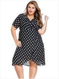 Летом повседневный V-шейный ремень белый Polka Dots дамы плюс размер шифон платья
