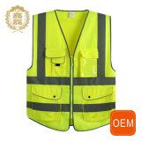 Gilet se reflétant de sûreté de poche multi d'OEM, gilet se reflétant de protection de visibilité élevée