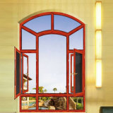 목제 조정 라운드 부속을%s 가진 색깔에 의하여 양극 처리되는 알루미늄 프레임 Lowes 유리제 여닫이 창 Windows