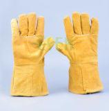 Жара заварки безопасности и отрезанная перчатка сопротивления кожаный работая