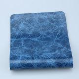 Couro marmoreando luxuoso do PVC do projeto novo para a mobília (F8002)