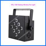 Batterie sans fil Parcan de PCS de la lumière 9 de disco de DEL