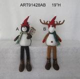 "19""H Camo Navidad alces y osos negros Shelfsitter, 2 Asst"