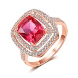 De kunstmatige Ring van de Manier van de Halfedelsteen van het Zirconiumdioxyde van de Luxe van Juwelen Roze