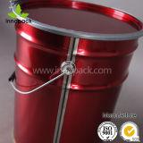 20Lレバーロックリングが付いている赤い金属のペンキのバケツのバケツ