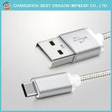 Серебристый нейлоновой оплеткой USB 3.1 типа C данных зарядное устройство для мобильных телефонов