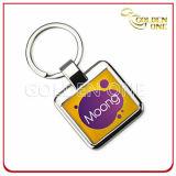 Anello chiave del metallo rivestito stampato & a resina epossidica di abitudine del regalo del ricordo