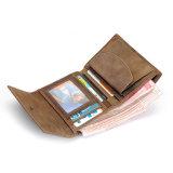 Бумажник портмона кожи лошади Brown оптовой цены фабрики шальной с карманн монетки