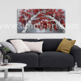 ホーム装飾のための赤い葉が付いているハンドメイドのシラカバの油絵