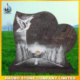 Headstone rosso del granito con la riga intagliare
