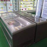 Ilha de supermercado de refrigeração estático freezer