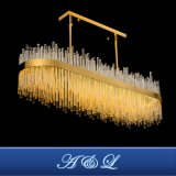 Aço inoxidável luxo lustre de vidro Lâmpada para sala de jantar