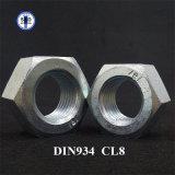 Estructura DIN934 Class8 Nut Cr + 3 chapado en zinc Finalizar Hex Nut