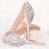 2017顧客用ラインストーンの水晶真珠の靴は花嫁党装飾と結婚するバックルを切る