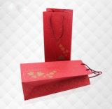 Sac à extrémité élevé et élégant fait sur commande professionnel de cadeau de vin de papier d'impression offset, emballage de sac de vin