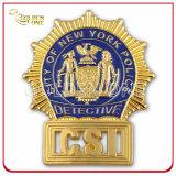 Emblema de segurança metálico personalizado com chapa de ouro com suporte de couro genuíno