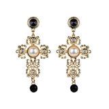 Женщин мода украшения креста полой из сплава Vintage Diamond Pearl Crystal Reports в раскрывающемся списке серьги вкладыши шпильки