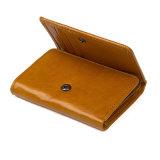 Оптовые цены на высшего качества индивидуального желтого цвета коричневый кожаный кошелек для леди