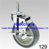 Grauer PU-Rad-Schwenker mit doppelter Verschluss-Stecker-Oberseite-Fußrolle
