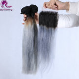 #1b de color gris de la PIEZA DE CABELLO 100% de la extensión de cabello humano.