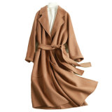 Manicotto di Raglan delle lane di modo delle signore con il METÀ DI Short lungo Coat&#160 del rivestimento della cinghia;