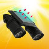 機密保護回転防水LED太陽軽い屋外7*2 LEDの太陽エネルギー二重ヘッドPIR動きセンサーの庭のヤードの壁のスポットライト
