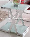 Tabela de extremidade superior de vidro do aço inoxidável da sala de visitas moderna com pé do círculo
