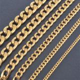 Anel de Aço Inoxidável cor dourada Colar Mens Ouro Colares