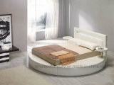 Новая кровать кожи конструкции A508 с светом СИД