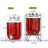 Frasco de vidro do frasco de vidro do armazenamento da água do frasco do suco com tampa e torneira do metal