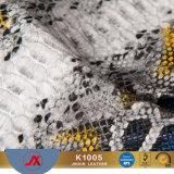 Stof van het Leer Snakeskin van pvc van de Fabrikant van China van het Merk van de naam de Goedkope Materiële