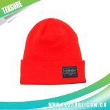 Sombreros abofeteados de acrílico del invierno de la gorrita tejida con la insignia del remiendo (058)