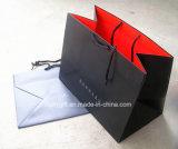 Bolsas de papel rojas negras modificadas para requisitos particulares insignia