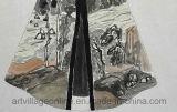 Pittura a olio astratta su struttura spessa Dress-01 antico della tela di canapa