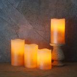 [4بكس/ست] شمع عديم لهب حقيقيّ [فوتيف] [لد] عمود شمعة لأنّ بيتيّ أو عطلة زخرفة, لون قرنفل وعاج لون