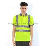 Camicia di polo riflettente respirabile gialla fluorescente di sicurezza