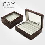 Коробка Cufflink лака отделки рояля деревянная с стеклянным окном