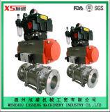 De Sanitaire Actuator van het roestvrij staal en Kogelklep van het Instelmechanisme 3PCS