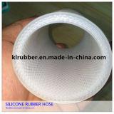 Tube en caoutchouc coloré de silicones de catégorie comestible de tresse de fibre