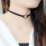 2 Halsband van de Nauwsluitende halsketting van de Meetkunde van de Omslag van het Leer van de stijl de Dubbele Goud Geplateerde