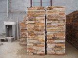 Coluna amarela dourada natural do cimento da pedra da ardósia (SMC-PC011)
